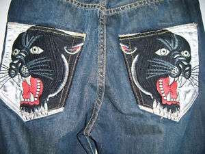 SILVER SATIN BLACK PANTHER JEANS Distressed Men Sizes 31 32 34 36
