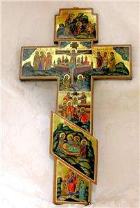 Russian Wood Large Wall hand painted Cross Crucifix Life of Christ