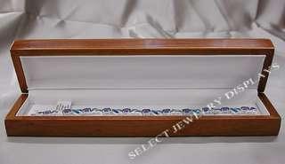 Oak Wood Veneer White Leather Jewelry Bracelet Gift Box