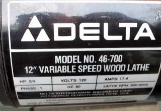 Rockwell Delta 12 X 44 Wood Lathe 3 4 H P 1ph Model 46 201