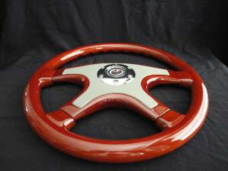 NEW 15 GRAY FRONT LEATHER WOOD GRAIN STEERING WHEEL