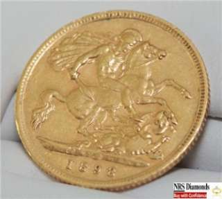 22K Solid Yellow Gold Genuine 1898 Half Sovereign Coin 22KT
