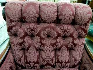 STRIKING, VICTORIAN ANTIQUE, HAND CARVED, SOLID WOOD UPHOLSTERED CHAIR