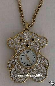 Crystal Teddy Bear Watch Pendant   Womens Watch