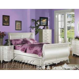 Pearl White Princess Girls Full Sleigh Trundle Bed