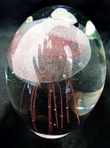 New Glow in Dark Glass Pink Mini Jellyfish Paperweight