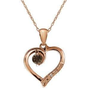 Brown Smoky Quartz and Topaz Gold Plated Silver Heart Shape Pendant