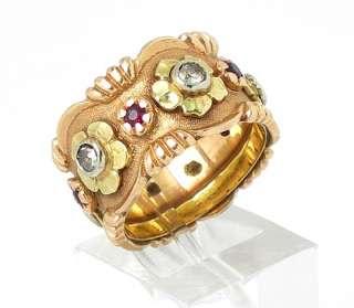 BEAUTIFUL RETRO 14K YELLOW GOLD, DIAMONDS & GARNETS FLOWER BAND RING