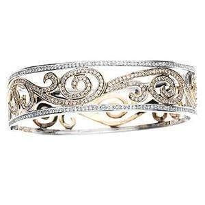 4ct Women Diamond Bangle Bracelet 14k Two Tone Gold