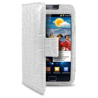 London Magic Store   White Croc Skin Wallet Case For Samsung Galaxy S2