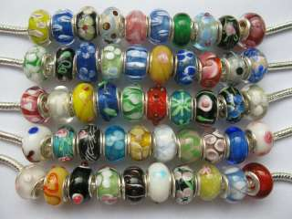 Lot 50pcs Sterling Silver Murano Glass European Charm Beads Fit