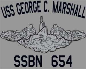 US Navy USS George C. Marshall SSBN 654 Sub T Shirt