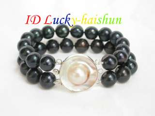 Genuine 8 2row 12mm round black pearl bracelet Mabe SS