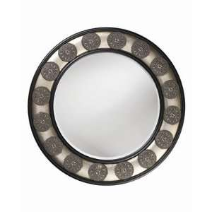 Wesleyan Round Wall Mirror in Antique Pewter