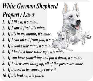 WHITE GERMAN SHEPHERD DOG PROPERTY   COMPUTER MOUSE PAD