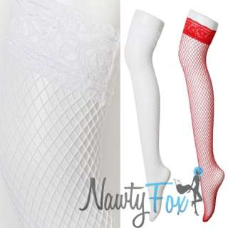 Sexy White Lace Thigh High Large Hole Fishnet Stocking