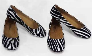 Round Toe Ballet Flats Shoes Silver White Black Zebra Size 7 12