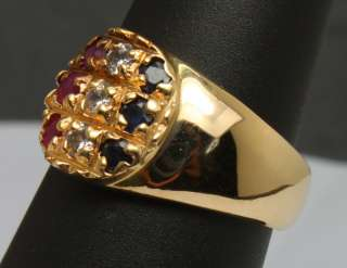 Red White Blue Flag Ruby Diamond & Sapphire 14K Yellow Gold Band Ring