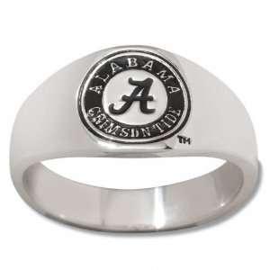Alabama Crimson Tide Mens Sterling Silver Cigar Band Ring