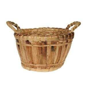 Water Hyacinth and Varnish Basket Round with Handles Weed Wacker