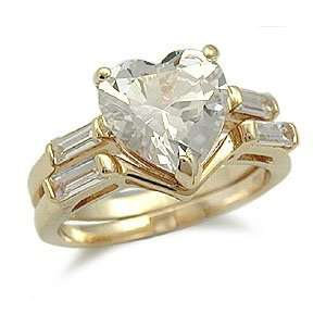 Wedding Rings   Heart Shape Cubic Zirconia Engagement Ring and Wedding