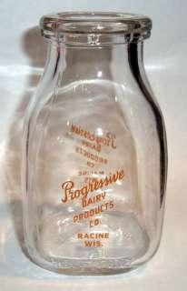 PINT GLASS MILK BOTTLE PROGRESSIVE DAIRY RACINE WI WISCONSIN