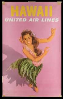 Original 1950 Vintage HAWAII Travel Poster UNITED AIRLINES Hawaiian