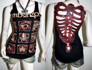 Lamb Of God Punk Metal Rock DIY Skeleton Back Tank Top Shirt Size