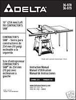 Delta 10 Table Saw Manual Models 36 978 36 979