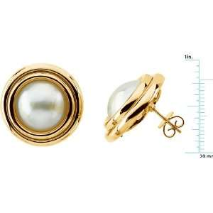 yellow gold Mabe Cultured Pearl Earrings Diamond Designs Jewelry