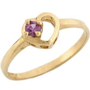 Gold June Birthstone Synthetic alexandrite Heart Baby Ring Jewelry