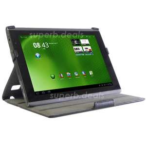 Leather Case Cover & Stand For Acer Iconia Tab A500 A501 Black