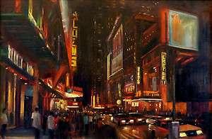 New York City Night Scene, Original Oil Painting 24x36 HALL GROAT II
