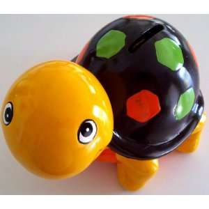 Ceramic Turtle Coin Money Bank, Yellow