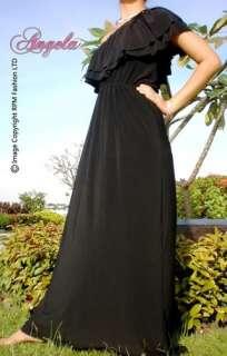 NEW White/Black One Shoulder Ruffle Long Women Maxi Dress Size M   XXL