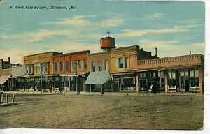 DOWNTOWN STREET SCENE VINTAGE ANTIQUE POSTCARD WATER TOWER 1909
