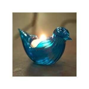Aqua Blue Glass Bird Candleholder   Set of 2