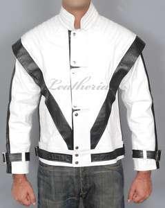MICHAEL JACKSON WHITE THRILLER Leather Jacket S M L XL