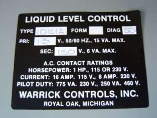 Warrick 1D1C0 liquid Level Control Relay   New