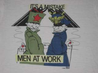 RARE MEN AT WORK 1983 VTG T SHIRT TOUR RONALD REAGAN