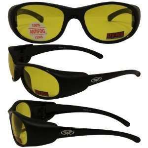 Bond Matte Black Motorcycle Glasses Anti fog Yellow Lenses