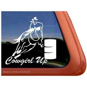 COWGIRL UP Barrel Racing Horse Trailer Vinyl Window Decal