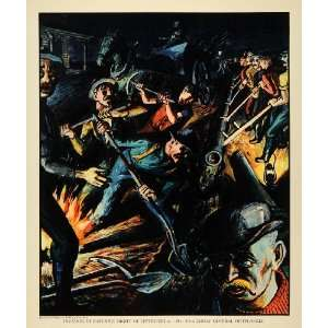 Sternberg Shovels Workers Fire   Original Color Print Home & Kitchen