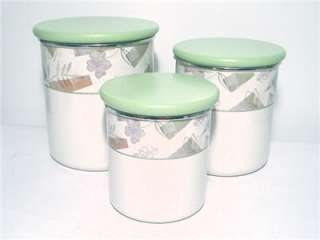 CORELLE TEXTURED LEAVES 6 pc METAL & WOOD CANISTER SET