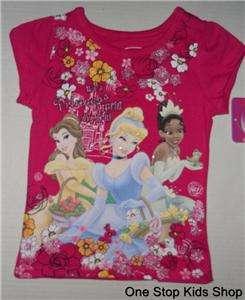 PRINCESS 2T 3T 4T Top SHIRT Belle Cinderella Tiana Aurora SNOW WHITE