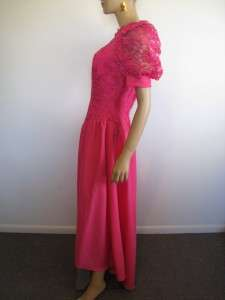 Vtg 80s HOT Pink ALFRED ANGELO Lace FISHTAIL Bridesmaid PROM Party