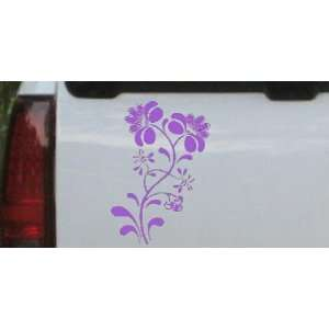 Purple 10in X 7.0in    Swirl Leaf Flowers And Vines Car Window Wall