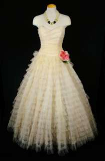 TULLE GOWN Bridal WEDDING Prom PARTY Mad Men Princess DRESS s