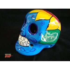 Ceramic Skull Glazed 4 Hand Painted Day of The Dead [Dia