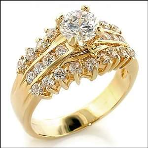 Gold Plated Clear Cubic Zirconia Ring, 1.45 Ct, Size 9